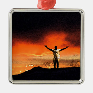 Reach for the Top of Your Mountain Square Metal Christmas Ornament