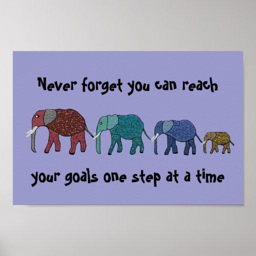 Reach Your Goals Elephants Motivational Poster | Zazzle