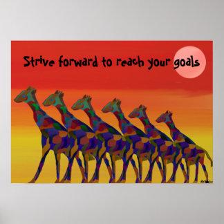 Reach your goals Giraffes Poster