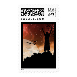 Reaching for the stars postage stamp