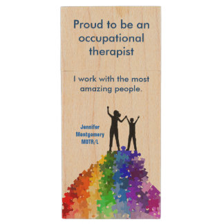 Reaching New Heights, Autism Support  Woman & Boy Wood USB Flash Drive
