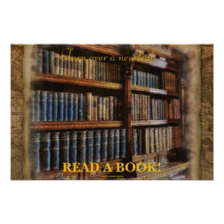 READ A BOOK Educational Literacy Poster