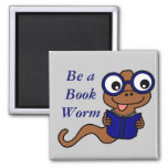 Read a Book Month: Be a Book Worm 2 Inch Square Magnet