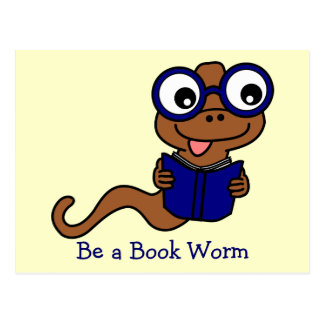 Read a Book Month: Be a Book Worm Postcard