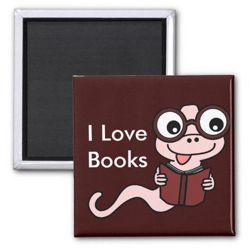 Read a Book Month: I Love Books 2 Inch Square Magnet