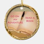 Read a Book round design Ornament