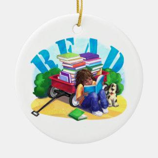 READ Book Wagon Art Ceramic Ornament