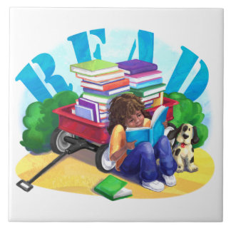 READ Book Wagon Art Ceramic Tile
