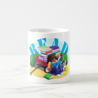 READ Book Wagon Art Coffee Mug