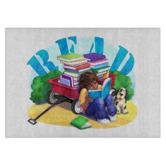READ Book Wagon Art Cutting Board
