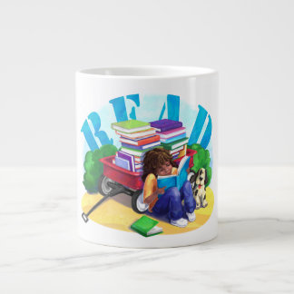 READ Book Wagon Art Giant Coffee Mug