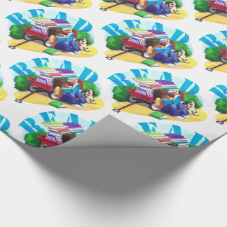 READ Book Wagon Art Pattern Wrapping Paper