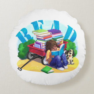 READ Book Wagon Art Round Pillow