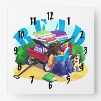 READ Book Wagon Art Square Wall Clock