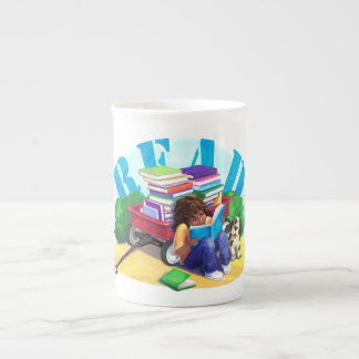 READ Book Wagon Art Tea Cup