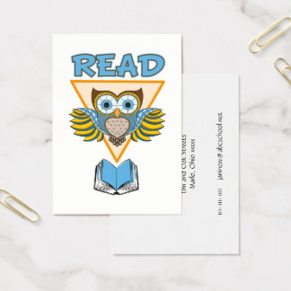 Read Books Blue Gold Owl Business Card