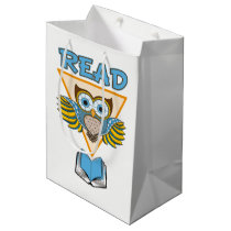 Read Books Blue Gold Owl Medium Gift Bag