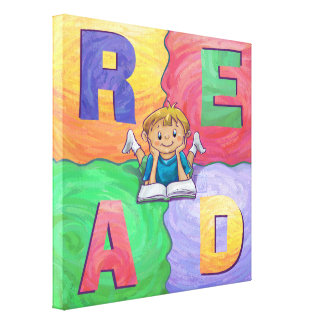 READ Boy Reading Colorful Wrapped Canvas