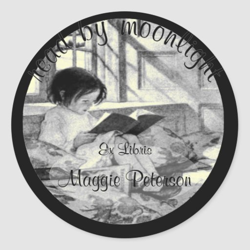 Read by Moonlight Vintage Bookplate Stickers