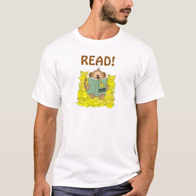 Read Funny Reading Shirt Cartoon Monkey and Banana