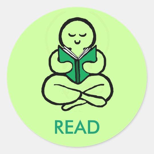 Read green version classic round sticker