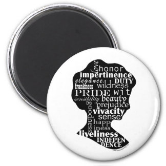 Read Jane Austen Cameo 2 Inch Round Magnet