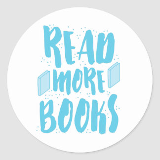 read more books in blue classic round sticker