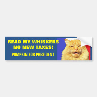Read My Whiskers, No New Taxes Red White and Blue Car Bumper Sticker