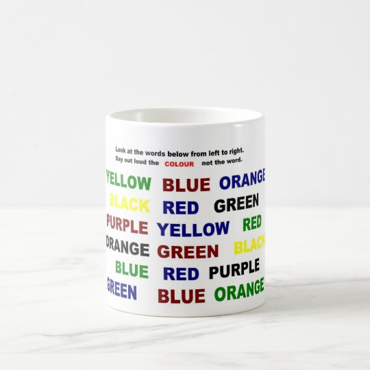 Read or say color coffee mug