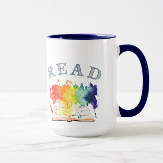 READ Rainbow Watercolor Book Coffee Mug