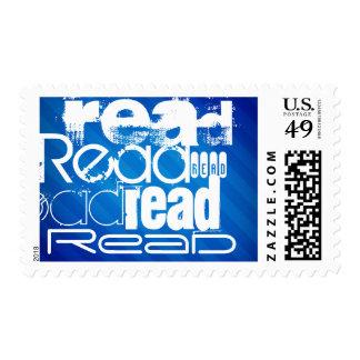 Read; Royal Blue Stripes Postage Stamp