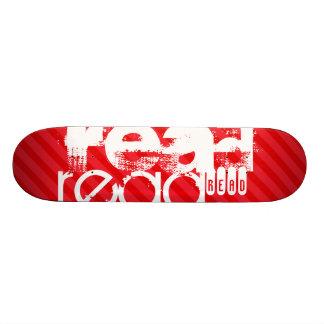 Read; Scarlet Red Stripes Skateboard Deck