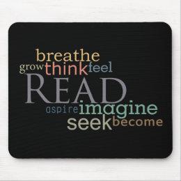 Read, Seek, Imagine Mousepad (Dark)