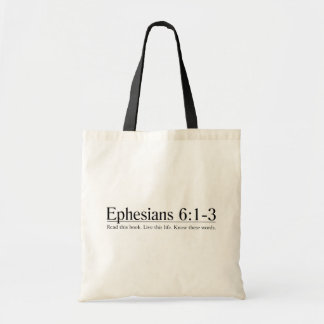 Read the Bible Ephesians 6:1-3 Tote Bags