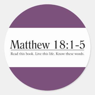 Read the Bible Matthew 18:1-5 Classic Round Sticker
