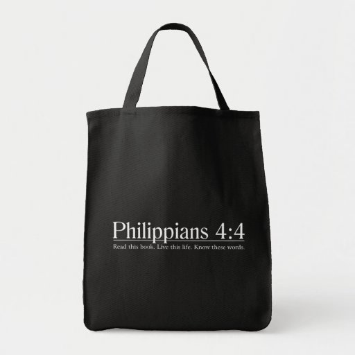Read the Bible Philippians 4:4 Tote Bags