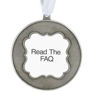 Read The FAQ Scalloped Pewter Ornament
