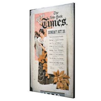 'Read The New York Times' (colour litho) Canvas Print