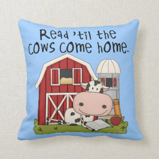 Read 'til The Cows Come Home Throw Pillow