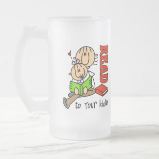 Read To Your Kids Frosted Glass Beer Mug