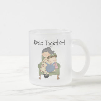 Read Together - Grandma and Girl Tshirts and Gifts Frosted Glass Coffee Mug