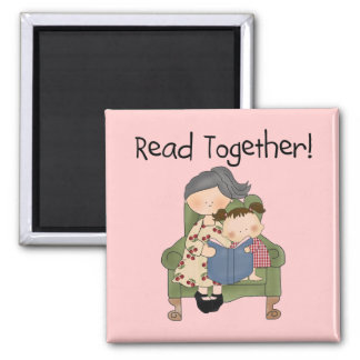 Read Together - Grandma and Girl Tshirts and Gifts Fridge Magnet