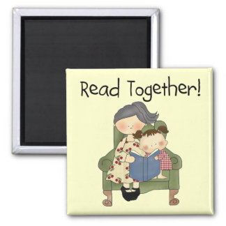Read Together - Grandma and Girl Tshirts and Gifts Refrigerator Magnets