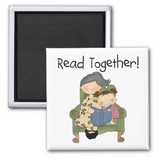Read Together - Grandma and Girl Tshirts and Gifts Magnets