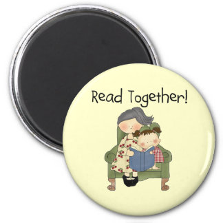 Read Together - Grandma and Girl Tshirts and Gifts Refrigerator Magnet