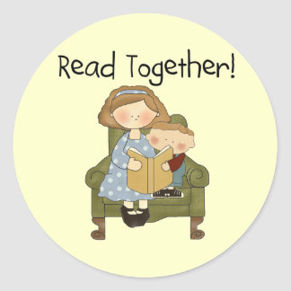 Read Together Mom and Boy Tshirts and Gifts Classic Round Sticker