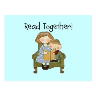 Read Together Mom and Boy Tshirts and Gifts Postcard