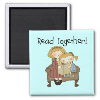Read Together - Mom and Girl Tshirts and Gifts 2 Inch Square Magnet
