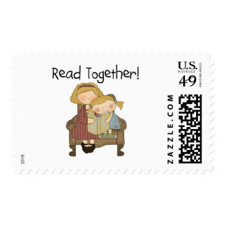 Read Together - Mom and Girl Tshirts and Gifts Postage Stamp