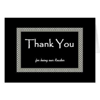 READER Checkerboard Wedding THANK YOU Greeting Card